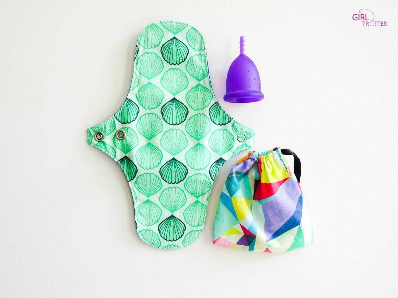 regles en voyage - cup et serviette hygienique lavable - Girltrotter