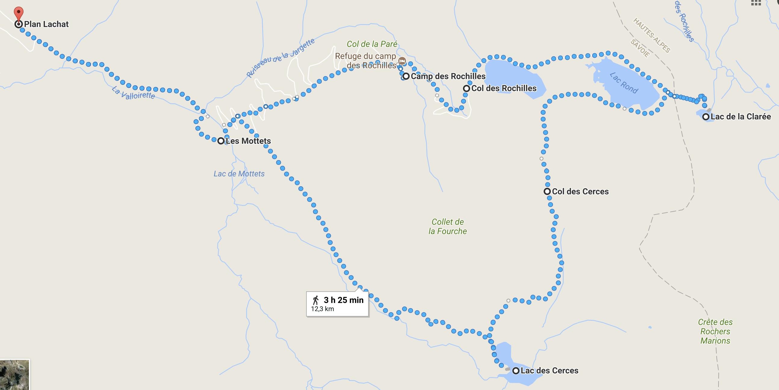 Itinéraire de la randonnée des 4 lacs - tour de la Fourche - Valloire Savoie