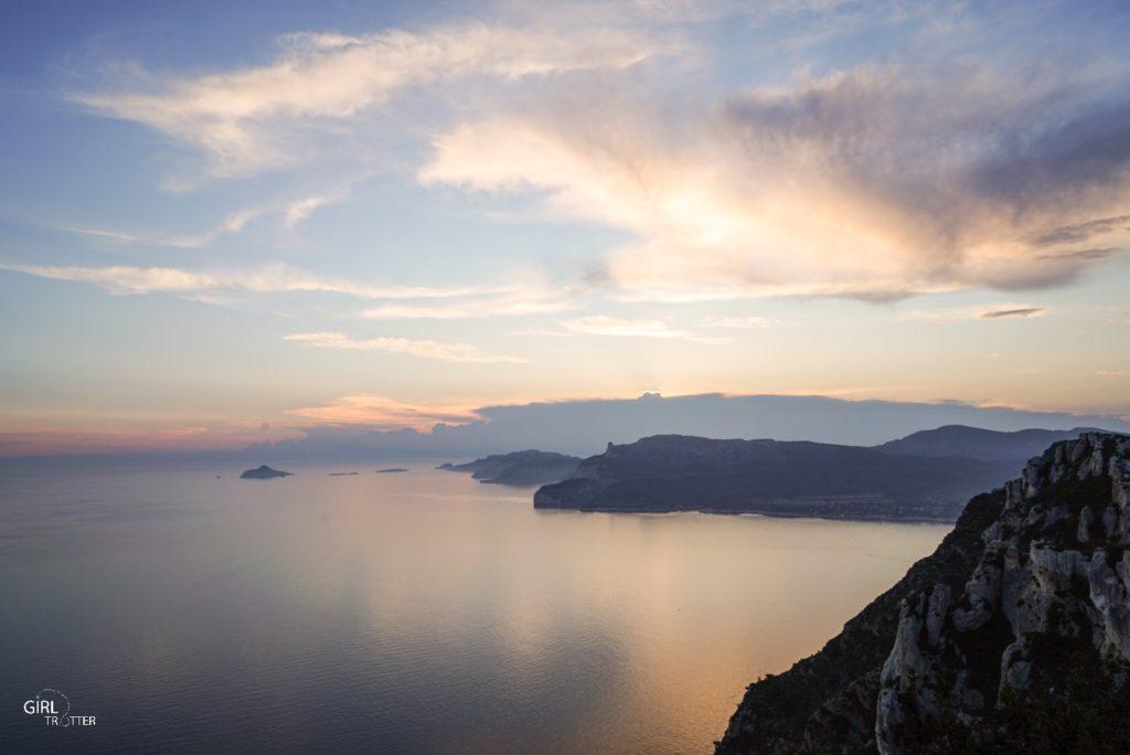 Coucher de soleil depuis la route des Crêtes de Cassis