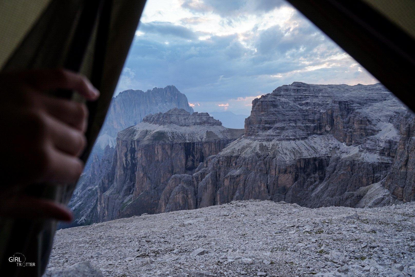 Logement dans les Dolomites - Bivouac en tente