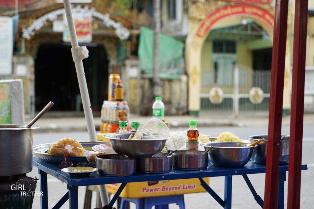 Echoppe de rue Yangon, Myanmar, Asie