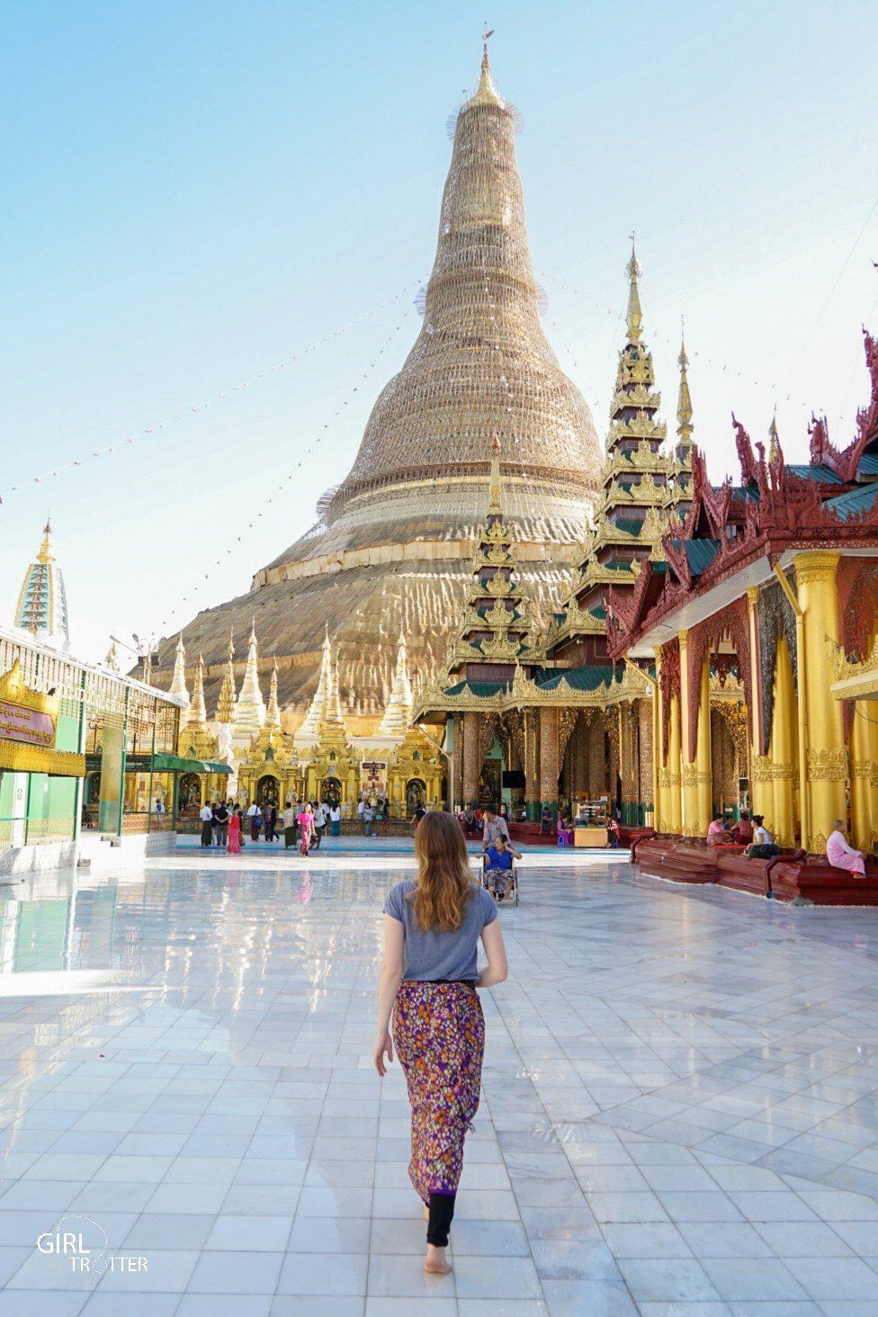 Stupa principale de la Pagode Shwe da gon de Yangon en Birmanie