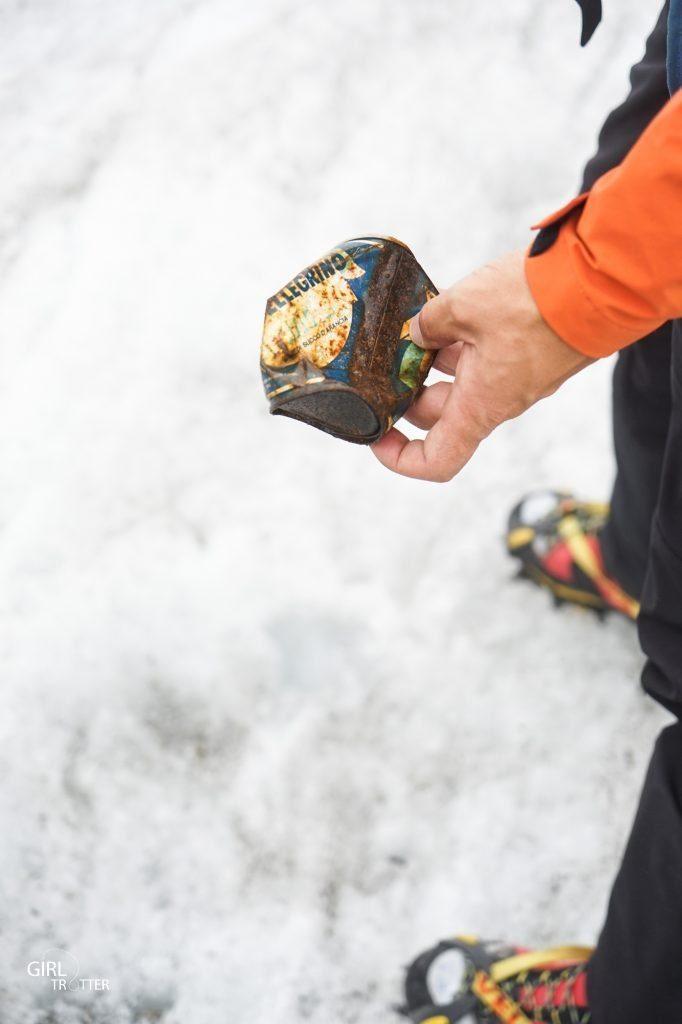 Déchet sur la mer de glace
