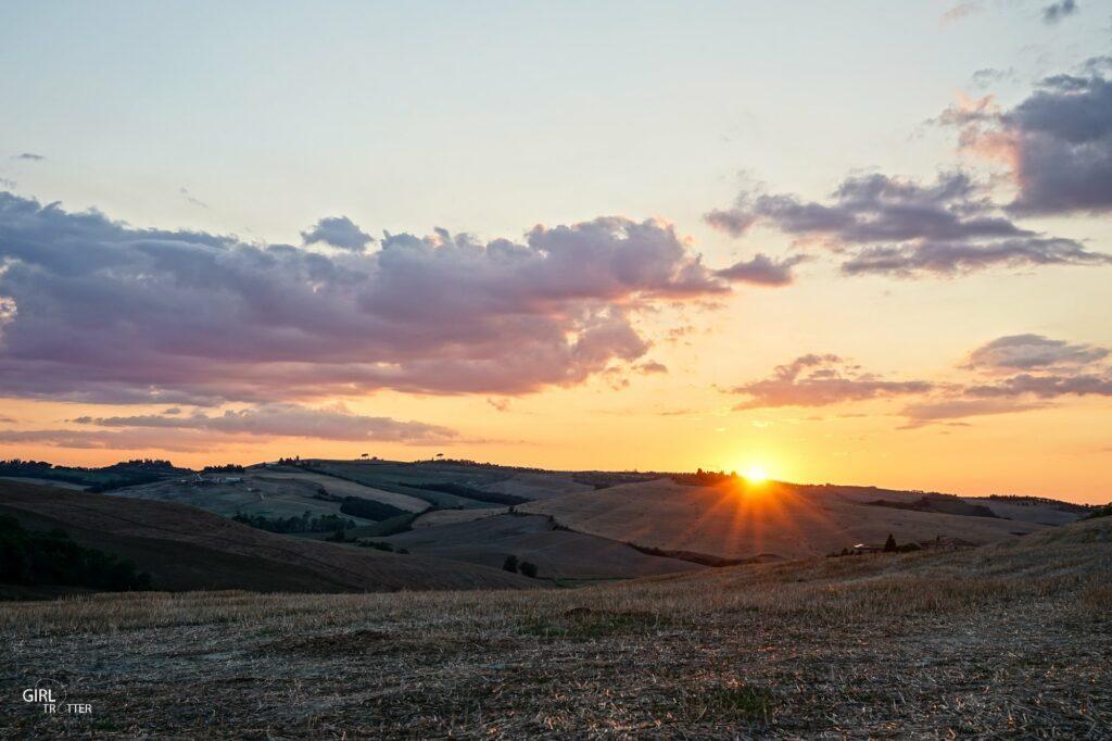 Coucher de soleil Crete Senesi - Toscane Italie