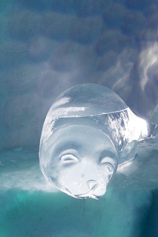 Sculptures de glace de l'Hôtel de glace 2020 de Québec en hiver